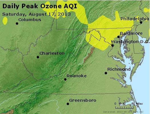 Peak Ozone (8-hour) - http://files.airnowtech.org/airnow/2013/20130817/peak_o3_va_wv_md_de_dc.jpg