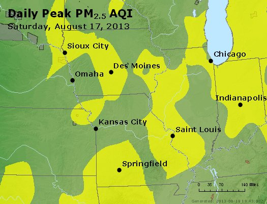 Peak Particles PM<sub>2.5</sub> (24-hour) - http://files.airnowtech.org/airnow/2013/20130817/peak_pm25_ia_il_mo.jpg