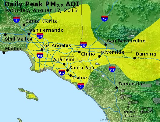 Peak Particles PM<sub>2.5</sub> (24-hour) - http://files.airnowtech.org/airnow/2013/20130817/peak_pm25_losangeles_ca.jpg
