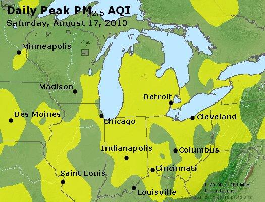 Peak Particles PM<sub>2.5</sub> (24-hour) - http://files.airnowtech.org/airnow/2013/20130817/peak_pm25_mi_in_oh.jpg