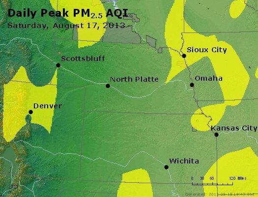 Peak Particles PM<sub>2.5</sub> (24-hour) - http://files.airnowtech.org/airnow/2013/20130817/peak_pm25_ne_ks.jpg