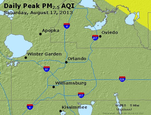 Peak Particles PM<sub>2.5</sub> (24-hour) - http://files.airnowtech.org/airnow/2013/20130817/peak_pm25_orlando_fl.jpg