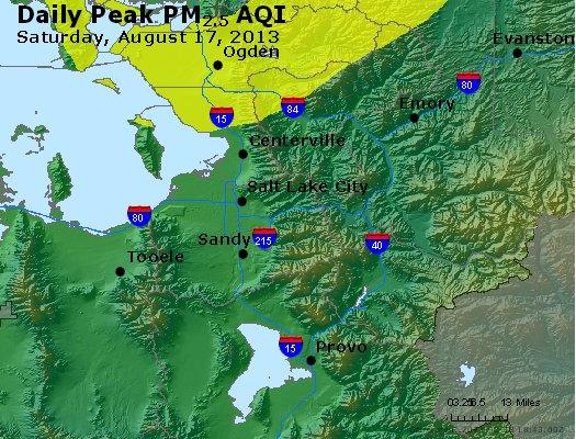 Peak Particles PM<sub>2.5</sub> (24-hour) - http://files.airnowtech.org/airnow/2013/20130817/peak_pm25_saltlakecity_ut.jpg