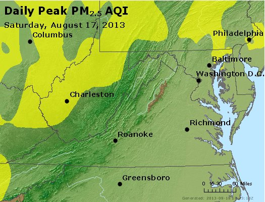 Peak Particles PM<sub>2.5</sub> (24-hour) - http://files.airnowtech.org/airnow/2013/20130817/peak_pm25_va_wv_md_de_dc.jpg