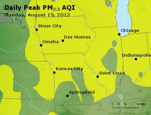 Peak Particles PM<sub>2.5</sub> (24-hour) - http://files.airnowtech.org/airnow/2013/20130819/peak_pm25_ia_il_mo.jpg