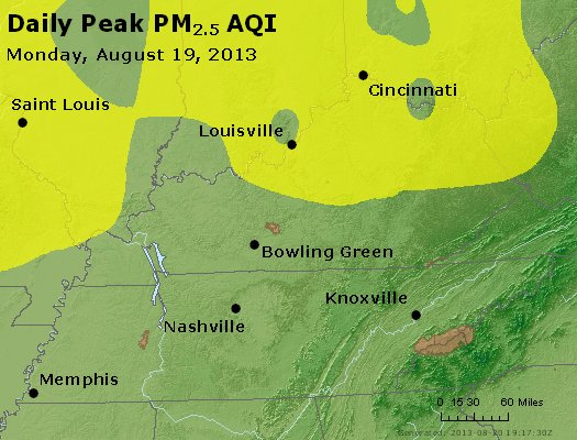 Peak Particles PM<sub>2.5</sub> (24-hour) - http://files.airnowtech.org/airnow/2013/20130819/peak_pm25_ky_tn.jpg