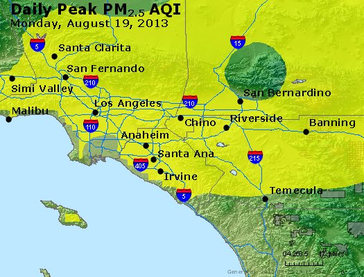 Peak Particles PM<sub>2.5</sub> (24-hour) - http://files.airnowtech.org/airnow/2013/20130819/peak_pm25_losangeles_ca.jpg