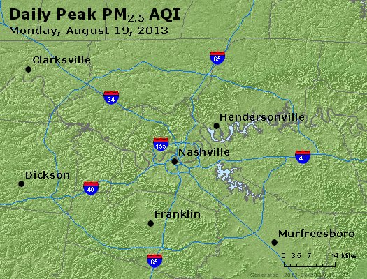 Peak Particles PM<sub>2.5</sub> (24-hour) - http://files.airnowtech.org/airnow/2013/20130819/peak_pm25_nashville_tn.jpg