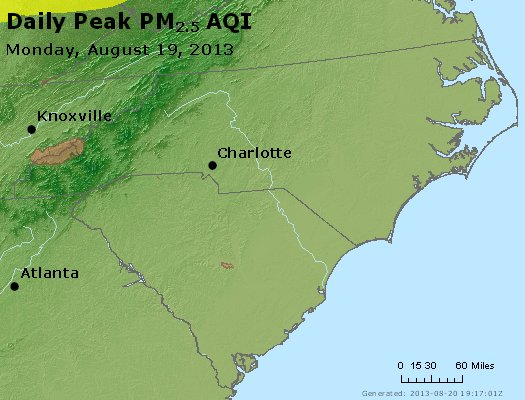 Peak Particles PM<sub>2.5</sub> (24-hour) - http://files.airnowtech.org/airnow/2013/20130819/peak_pm25_nc_sc.jpg