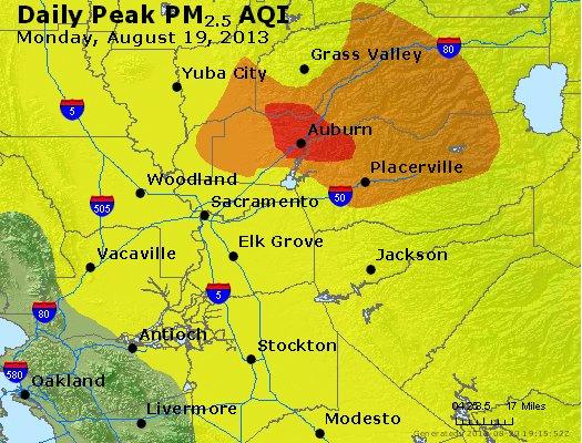 Peak Particles PM<sub>2.5</sub> (24-hour) - http://files.airnowtech.org/airnow/2013/20130819/peak_pm25_sacramento_ca.jpg