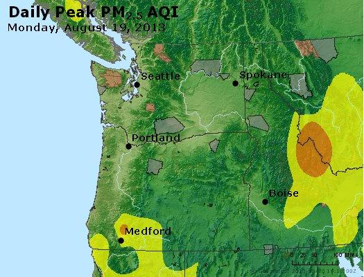 Peak Particles PM<sub>2.5</sub> (24-hour) - http://files.airnowtech.org/airnow/2013/20130819/peak_pm25_wa_or.jpg