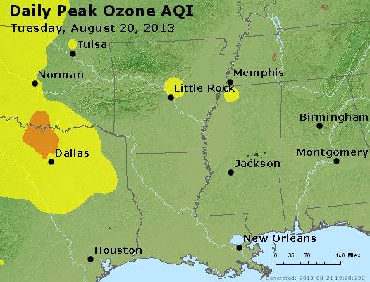 Peak Ozone (8-hour) - http://files.airnowtech.org/airnow/2013/20130820/peak_o3_ar_la_ms.jpg