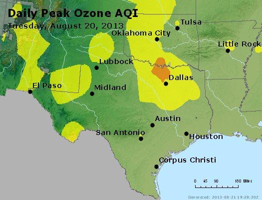 Peak Ozone (8-hour) - http://files.airnowtech.org/airnow/2013/20130820/peak_o3_tx_ok.jpg