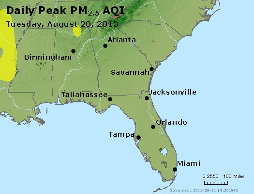 Peak Particles PM<sub>2.5</sub> (24-hour) - http://files.airnowtech.org/airnow/2013/20130820/peak_pm25_al_ga_fl.jpg