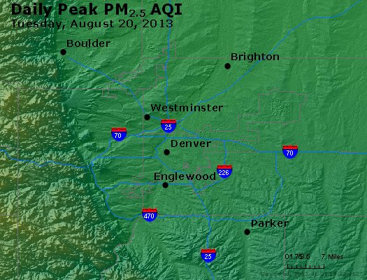 Peak Particles PM<sub>2.5</sub> (24-hour) - http://files.airnowtech.org/airnow/2013/20130820/peak_pm25_denver_co.jpg