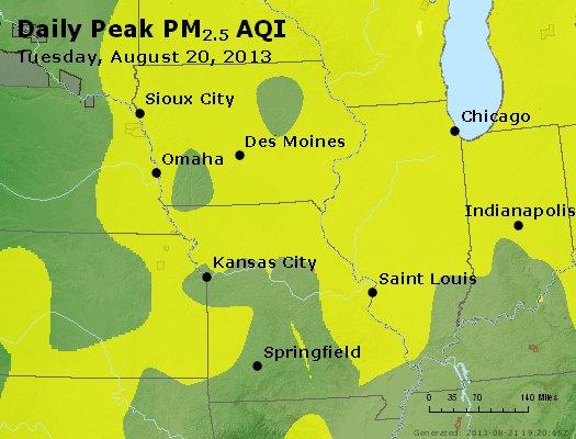 Peak Particles PM<sub>2.5</sub> (24-hour) - http://files.airnowtech.org/airnow/2013/20130820/peak_pm25_ia_il_mo.jpg