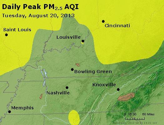 Peak Particles PM<sub>2.5</sub> (24-hour) - http://files.airnowtech.org/airnow/2013/20130820/peak_pm25_ky_tn.jpg