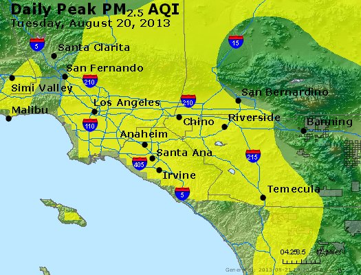 Peak Particles PM<sub>2.5</sub> (24-hour) - http://files.airnowtech.org/airnow/2013/20130820/peak_pm25_losangeles_ca.jpg