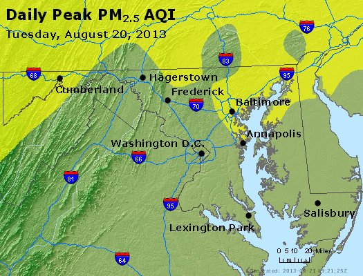 Peak Particles PM<sub>2.5</sub> (24-hour) - http://files.airnowtech.org/airnow/2013/20130820/peak_pm25_maryland.jpg