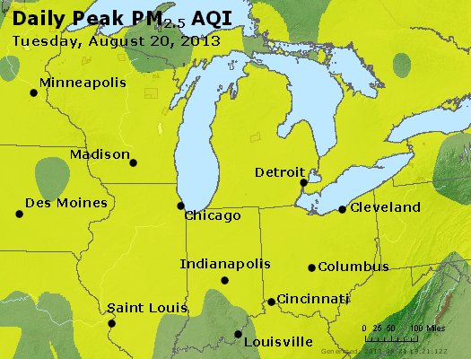 Peak Particles PM<sub>2.5</sub> (24-hour) - http://files.airnowtech.org/airnow/2013/20130820/peak_pm25_mi_in_oh.jpg