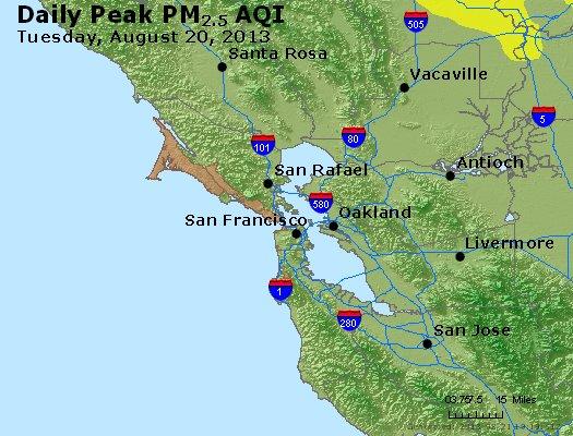 Peak Particles PM<sub>2.5</sub> (24-hour) - http://files.airnowtech.org/airnow/2013/20130820/peak_pm25_sanfrancisco_ca.jpg