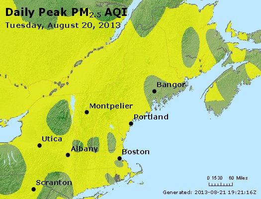 Peak Particles PM<sub>2.5</sub> (24-hour) - http://files.airnowtech.org/airnow/2013/20130820/peak_pm25_vt_nh_ma_ct_ri_me.jpg