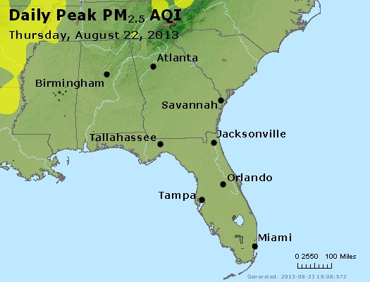 Peak Particles PM<sub>2.5</sub> (24-hour) - http://files.airnowtech.org/airnow/2013/20130822/peak_pm25_al_ga_fl.jpg