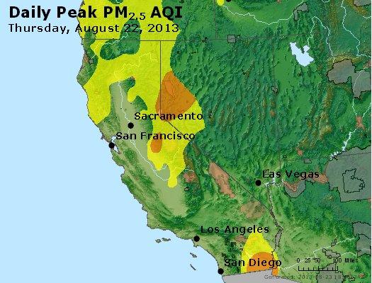 Peak Particles PM<sub>2.5</sub> (24-hour) - http://files.airnowtech.org/airnow/2013/20130822/peak_pm25_ca_nv.jpg