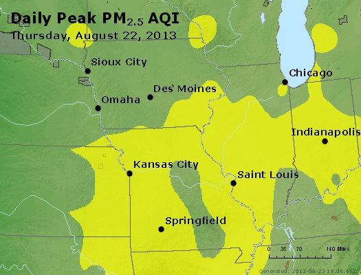 Peak Particles PM<sub>2.5</sub> (24-hour) - http://files.airnowtech.org/airnow/2013/20130822/peak_pm25_ia_il_mo.jpg