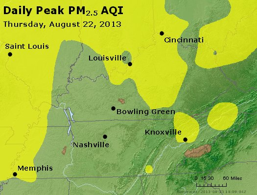 Peak Particles PM<sub>2.5</sub> (24-hour) - http://files.airnowtech.org/airnow/2013/20130822/peak_pm25_ky_tn.jpg