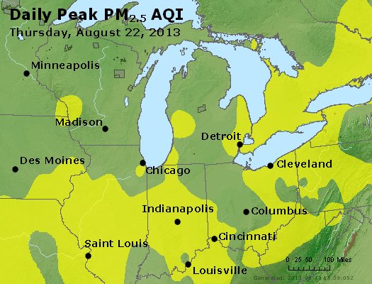 Peak Particles PM<sub>2.5</sub> (24-hour) - http://files.airnowtech.org/airnow/2013/20130822/peak_pm25_mi_in_oh.jpg