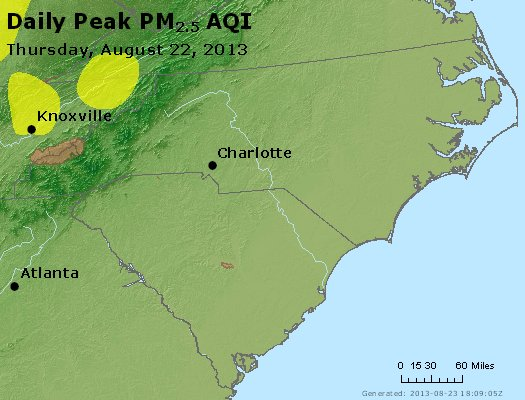 Peak Particles PM<sub>2.5</sub> (24-hour) - http://files.airnowtech.org/airnow/2013/20130822/peak_pm25_nc_sc.jpg
