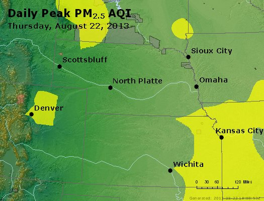 Peak Particles PM<sub>2.5</sub> (24-hour) - http://files.airnowtech.org/airnow/2013/20130822/peak_pm25_ne_ks.jpg