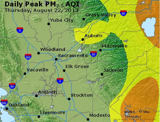 Peak Particles PM<sub>2.5</sub> (24-hour) - http://files.airnowtech.org/airnow/2013/20130822/peak_pm25_sacramento_ca.jpg
