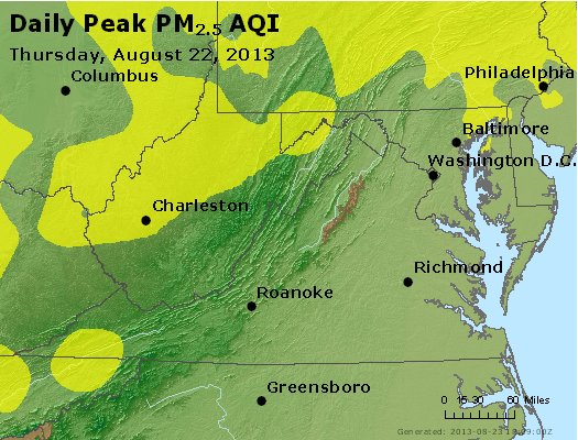 Peak Particles PM<sub>2.5</sub> (24-hour) - http://files.airnowtech.org/airnow/2013/20130822/peak_pm25_va_wv_md_de_dc.jpg