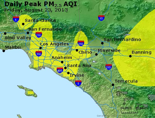 Peak Particles PM<sub>2.5</sub> (24-hour) - http://files.airnowtech.org/airnow/2013/20130823/peak_pm25_losangeles_ca.jpg