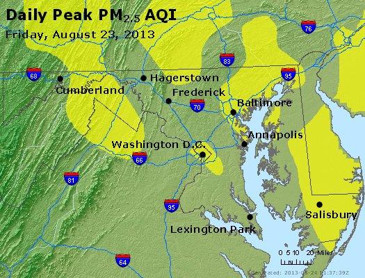 Peak Particles PM<sub>2.5</sub> (24-hour) - http://files.airnowtech.org/airnow/2013/20130823/peak_pm25_maryland.jpg