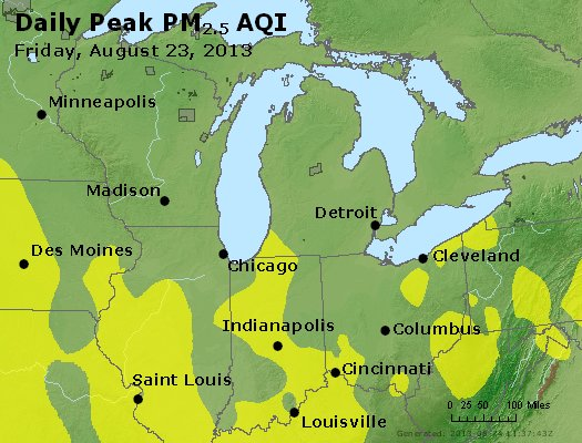 Peak Particles PM<sub>2.5</sub> (24-hour) - http://files.airnowtech.org/airnow/2013/20130823/peak_pm25_mi_in_oh.jpg