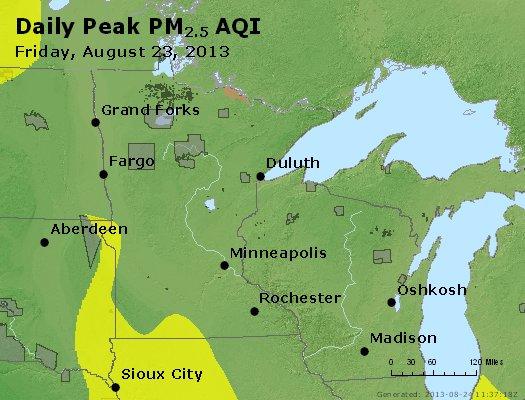 Peak Particles PM<sub>2.5</sub> (24-hour) - http://files.airnowtech.org/airnow/2013/20130823/peak_pm25_mn_wi.jpg