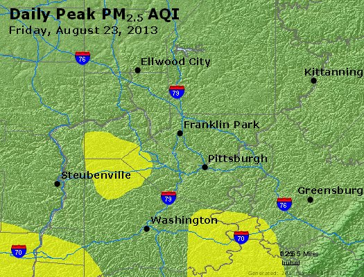 Peak Particles PM<sub>2.5</sub> (24-hour) - http://files.airnowtech.org/airnow/2013/20130823/peak_pm25_pittsburgh_pa.jpg