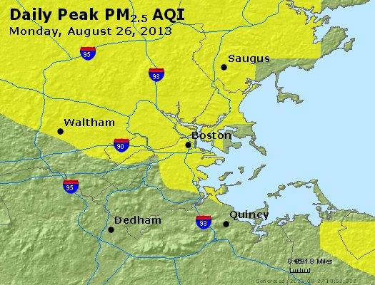 Peak Particles PM<sub>2.5</sub> (24-hour) - http://files.airnowtech.org/airnow/2013/20130826/peak_pm25_boston_ma.jpg