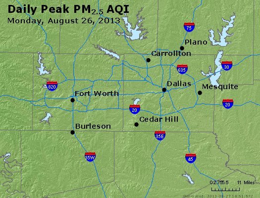 Peak Particles PM<sub>2.5</sub> (24-hour) - http://files.airnowtech.org/airnow/2013/20130826/peak_pm25_dallas_tx.jpg