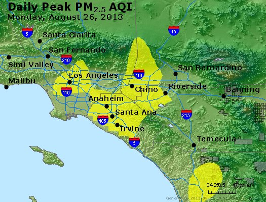 Peak Particles PM<sub>2.5</sub> (24-hour) - http://files.airnowtech.org/airnow/2013/20130826/peak_pm25_losangeles_ca.jpg