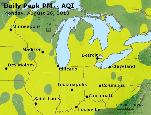 Peak Particles PM<sub>2.5</sub> (24-hour) - http://files.airnowtech.org/airnow/2013/20130826/peak_pm25_mi_in_oh.jpg