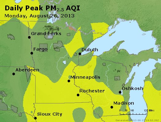 Peak Particles PM<sub>2.5</sub> (24-hour) - http://files.airnowtech.org/airnow/2013/20130826/peak_pm25_mn_wi.jpg