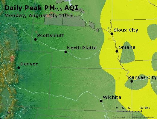 Peak Particles PM<sub>2.5</sub> (24-hour) - http://files.airnowtech.org/airnow/2013/20130826/peak_pm25_ne_ks.jpg