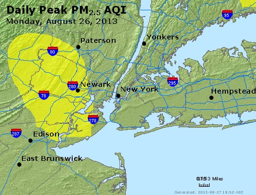 Peak Particles PM<sub>2.5</sub> (24-hour) - http://files.airnowtech.org/airnow/2013/20130826/peak_pm25_newyork_ny.jpg
