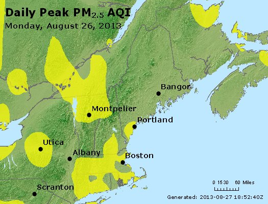 Peak Particles PM<sub>2.5</sub> (24-hour) - http://files.airnowtech.org/airnow/2013/20130826/peak_pm25_vt_nh_ma_ct_ri_me.jpg