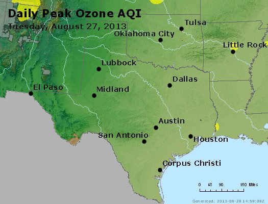 Peak Ozone (8-hour) - http://files.airnowtech.org/airnow/2013/20130827/peak_o3_tx_ok.jpg