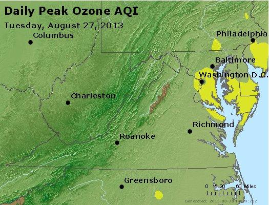Peak Ozone (8-hour) - http://files.airnowtech.org/airnow/2013/20130827/peak_o3_va_wv_md_de_dc.jpg